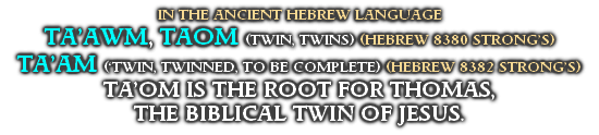 IN THE ANCIENT HEBREW LANGUAGE TA'AWM, TAOM (TWIN, TWINS) (HEBREW 8380 STRONG'S)  TA'AM ('TWIN, TWINNED, TO BE COMPLETE) (HEBREW 8382 STRONG'S) TA'OM IS THE ROOT FOR THOMAS,  THE BIBLICAL TWIN OF JESUS.